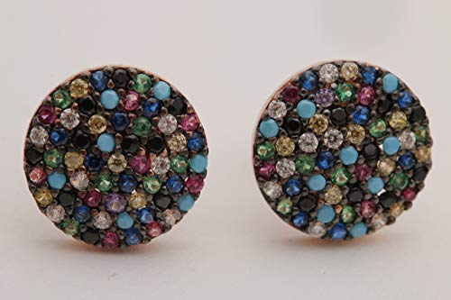 Round Shape Special Design Turkish Turquoise Emerald Pink Ruby Sapphire Citrine Topaz Handmade Jewelry 925 Sterling Silver Rose Gold Stud Earrings