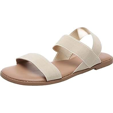 Women's Wide Width Flat Sandals - Open Toe Elastic Ankle Strap Casual Summer Shoes. Beige Size: 6 Wide
