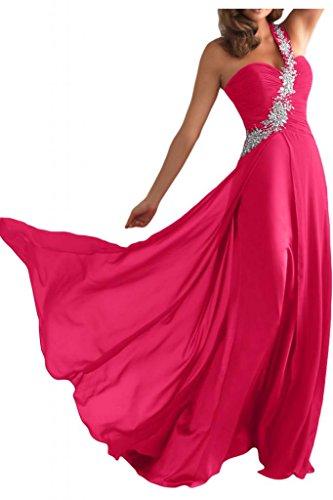 Toscana un-hombro de la gasa de las mujeres de la novia por la noche vestido largo fiesta vestidos de fiesta en vestidos de bola Rosa