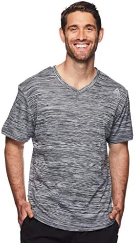 Reebok - Camiseta de entrenamiento con cuello en V para hombre, manga corta para gimnasio y entrenamiento: Amazon.es: Ropa y accesorios