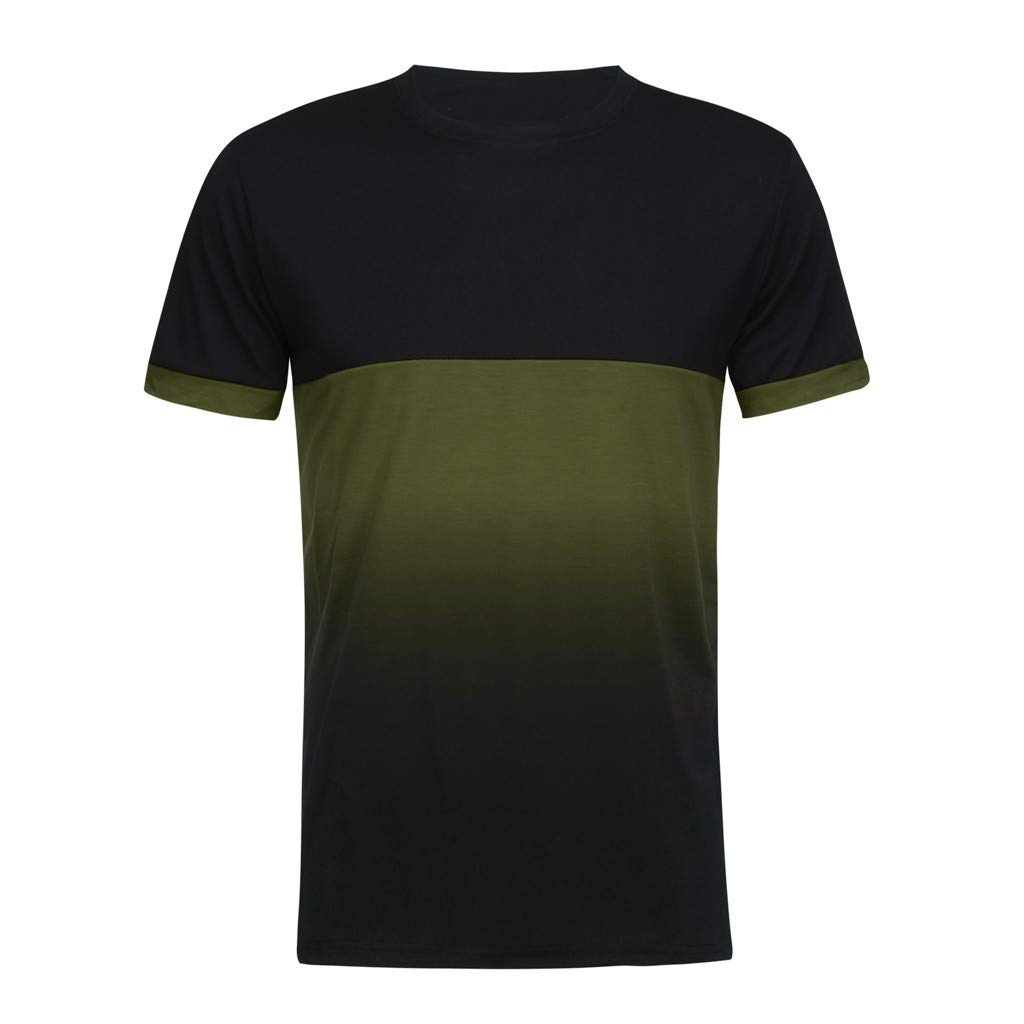 Mens Casual Slim Fit Short Sleeve Solid Color Classic T-Shirts Basic Tee Running Tops