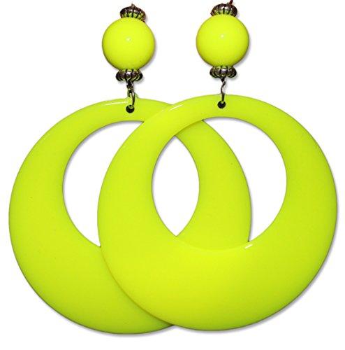Neon Fluorescent Large Retro Hoop Dangle Costume Earring (Neon Yellow) -