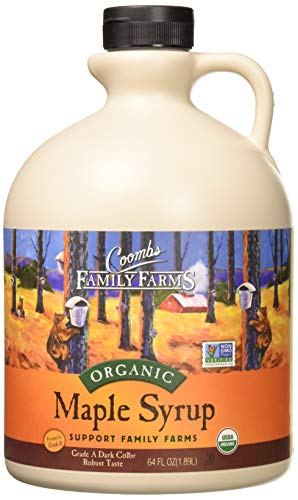 Coombs Family Farms Organic Maple Syrup, Grade A Dark Color, Robust Taste, 64-Ounce Jug