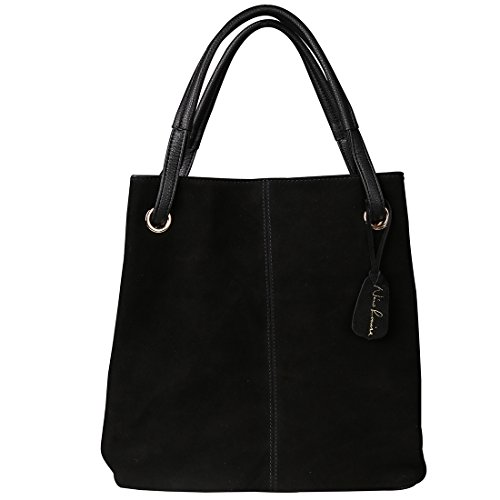 Leather Suede Tote (Nico Louise Women Real Split Suede Leather Tote Purse New Leisure Large Top-handle Bags Lady Casual Crossbody Shoulder Handbag (Black))