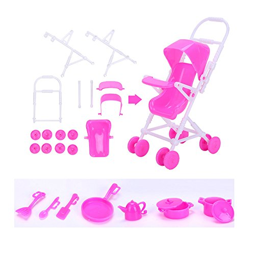113Pcs Barbie Doll Clothes Set, 15 Pack Barbie Clothes Party Grown Outfits Dresses and 98pcs Different Doll Accessories Shoes bags Glasses Necklace Tableware for Little Girl Birthday by Giraffe US (Image #5)