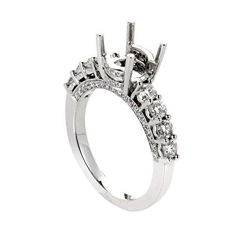 Odelia 18K White Gold & Diamond Semi-Mount 8 Stone Engagement Ring ED-9717 (Mount Semi Ring Diamond)