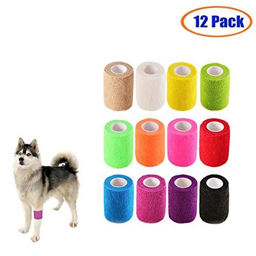 (TfwadmxPack of 12 Adhesive Gauze Rolls, Dog Vet Wraps 2 Inch,Self Adhering Cohesive Bandage Wrap,Waterproof Vet Wrap Tape Bulk for Cat Horse Pet Rainbow Colors Vet Wraps)