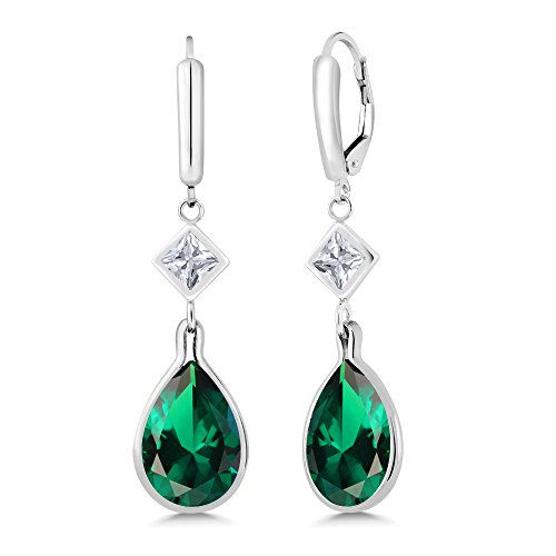 10.00 Ct Pear Shape Green Simulated Emerald 925 Sterling Silver Earrings