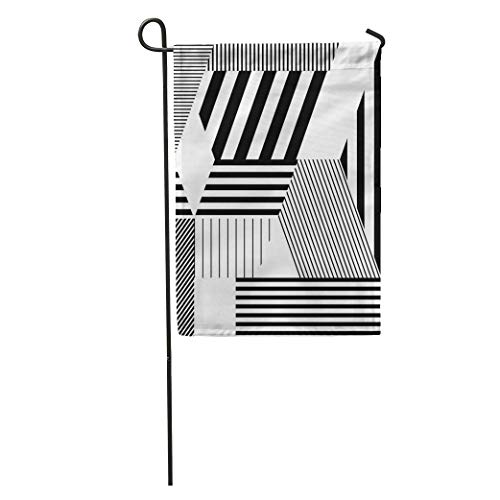 Nick Thoreaufhed Garden Flag Colorful Minimalistic in Retro Bauhaus Modern 80S Abstract Avant Black Home Yard House Decor Barnner Outdoor Stand 12x18 Inches Flag