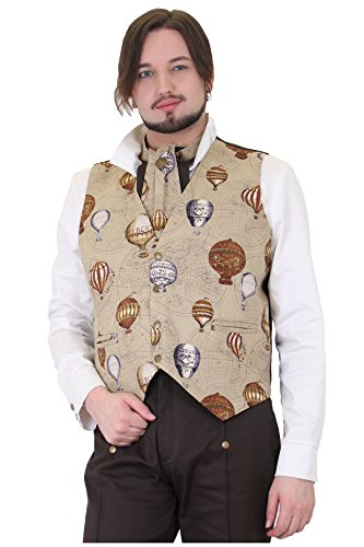 Size Medium Brown Cotton Steampunk Collarless Vest Hot Air Balloons (Burlesque Clothing Men)