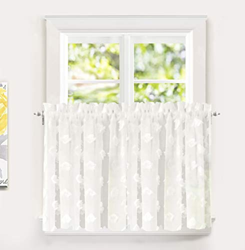 (DriftAway Olivia White Voile Chiffon Sheer Kitchen Tier Window Treatment Embroidered Pom Pom 2 Panels Rod Pocket Each 30 Inch by 36 Inch Plus 2 Inch Header Off White)