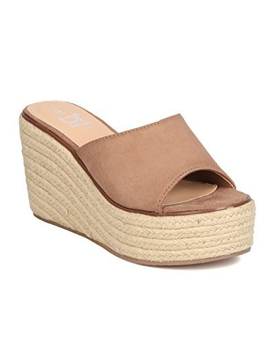 BETANI Women Faux Suede Open Toe Single Band Espadrille Platform Wedge Sandal GC00 - Taupe (Size: ()