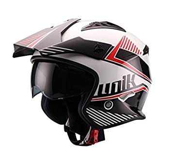 UNIK - Casco JET Trial CT-07 Blanco, Negro, Rojo (XL -