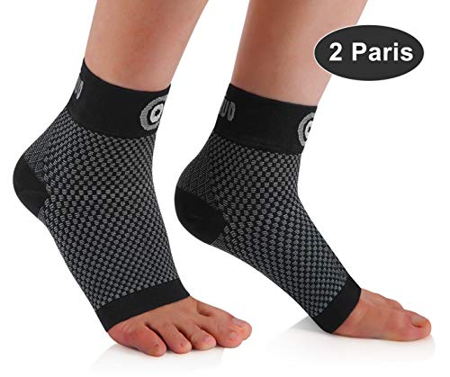 CAMBIVO 2 Pairs Plantar Fasciitis Socks, Ankle Compression Sleeve with Arch Support for Men and Women, Fit for Foot Pain, Heel Pain, Arch Pain, Ankle Pain, Swelling, Injury Recovery (Black, X-Large)