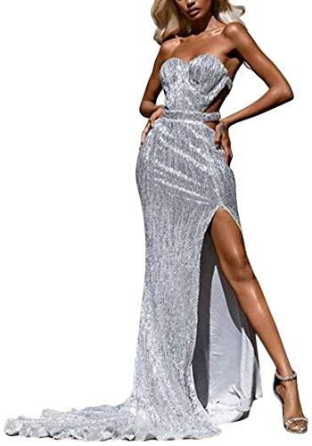 Cosygal Women's Strapless Sequined Cut Out Slit Party Evening Cocktail Mermaid Maxi Long Dress Prom Gowns Sliver ()