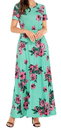 Women Fashion Floral Sun Long Dress(Green) - 9