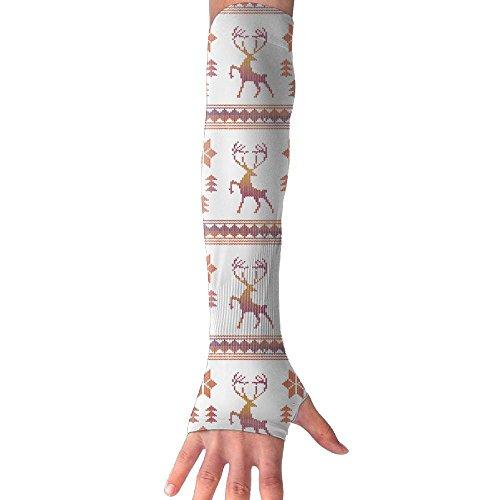 Sleeve Snow - Arm Sleeve Fingerless Gloves Unisex Fair Isle Snowflake Sports Outdoor Sun Block Driving Gloves Stretchy Arm Warmer
