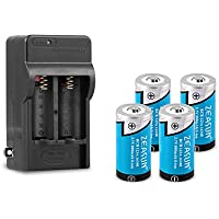 Zeasun 4 Pack 800 mAh 3.7 V 16340/ RCR123A Rechargeable Lithium Battery with 16340 Battery Charger