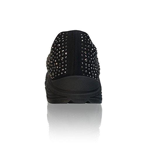 Marc Defang Exklusiva Womens Hematit Strass Lycra Bekväm Slip På Mode Sneakers