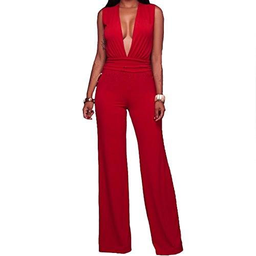 Hot Bodycon4U Women's High Waisted Plunging V Neck Wide Leg Club One Piece Jumpsuit Romper