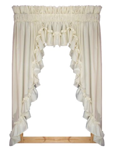 Stephanie Country Style Ruffle 3 Piece Swag Curtains Set 132-Inch-by-63-Inch - 1 1/2 Inch Rod Pocket, Natural