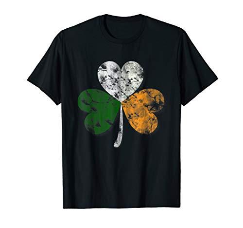 Shamrock Ireland Vintage Heart Distressed Lucky Charm Tshirt