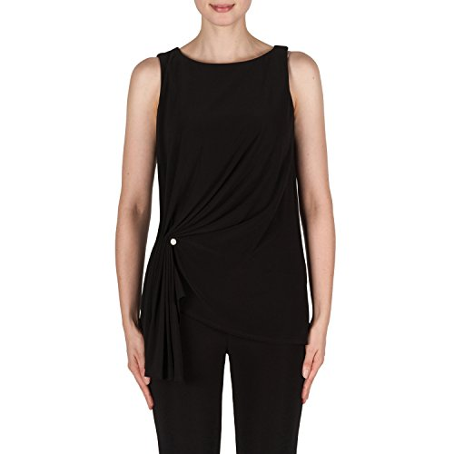 Joseph Ribkoff Black Asymetrical Sleeveless Top With Pearl Accent Style 181117 Size 4