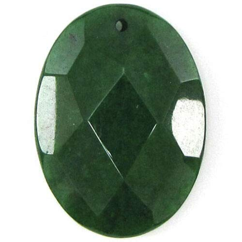 2 Pieces 40mm Faceted Emerald Green Jade Flat Oval Bead Pendant nbLG-1032 ()