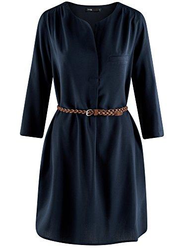 oodji Ultra Mujer Vestido de Viscosa con Cinturón Azul (7900N)