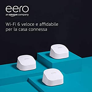 Nuovo sistema Wi-Fi 6 mesh dual-band Amazon eero 6, con hub per Casa Intelligente Zigbee integrato   Kit da 3 pezzi