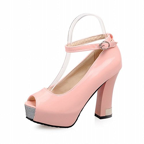 Latasa Womens Fashion Peep-toe High Heel Platform Ankle-strap Pumps Pink 9RKwx