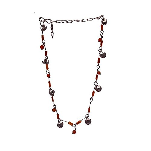 Kalyani Silver tone Orange Ankle Chain
