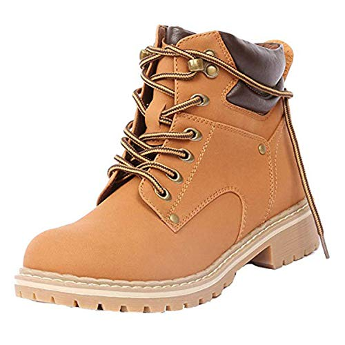 Forever Women's Ankle High Combat Hiking Boots,Color:Tan Pu,Size:9