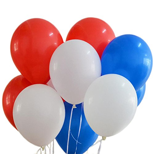 100 Premium Quality Balloons: 12 inches white and blue and red latex balloons birthday party decoration and events]()