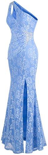 Azul Un Angel Vestidos Claro De Hombro Fashions Plisado Encaje Mujer z5X56xwScq