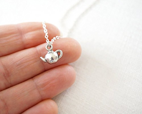 Smallest Teapot Necklace Sterling Silver Chain Petite Kettle Tiny Charm Minimal Jewelry Pendant Alice in Wonderland Tea Party Gift for Her Daughter Girlfriend Sister Mother Handmade by KapKaDesign
