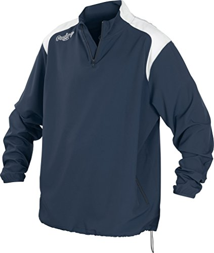 Rawlings Unisex Rawlings Youth Quarter Zip Long sleeve Baseball Jacket, Navy, Large