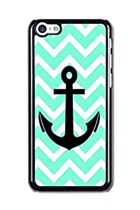Generic High Quality Snap On blue chevron anchor Design Polycarbonate (PC) Hard Cellphone Case Back Skin Cover Protector For iPhone 5C (Choose from Black and White)