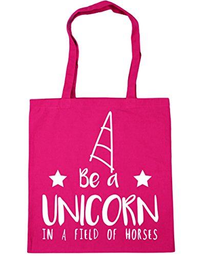 HippoWarehouse Be a unicorn in a field of horses Tote Shopping Gym Beach Bag 42cm x38cm, 10 litres Fuchsia