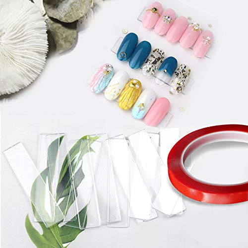 100PCS Transparent Nail Art Display Stand,With 2 Rolls Double-Sided Tape For Practicing,Acrylic Nail Tips Display Strips,Fake Nails Art Tips Practice Holder For Salon Home Nail Accessory Office Decor
