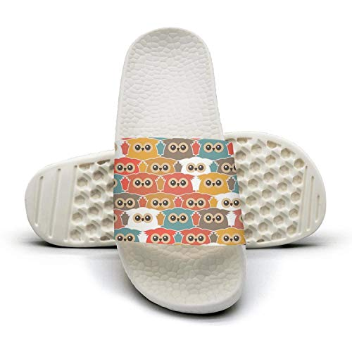 Sandals Sandals with Owls Beach Slip With Coloring Women's Smart Comfort Slip on Pattern Shower and Anti Slipper Vintage 0Hfw6qf5