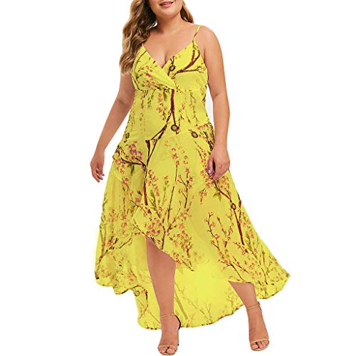 TUSANG Women Skirts Casual Plus Size V-Neck Print Stitching Sling Waist Irregular Dress Loose Flowy Comfy Dress Yellow
