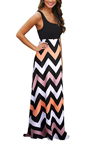ReachMe Women's Summer Chevron Striped Print Dress Tank Long Maxi Dresses for (Cotton Lycra Dress)