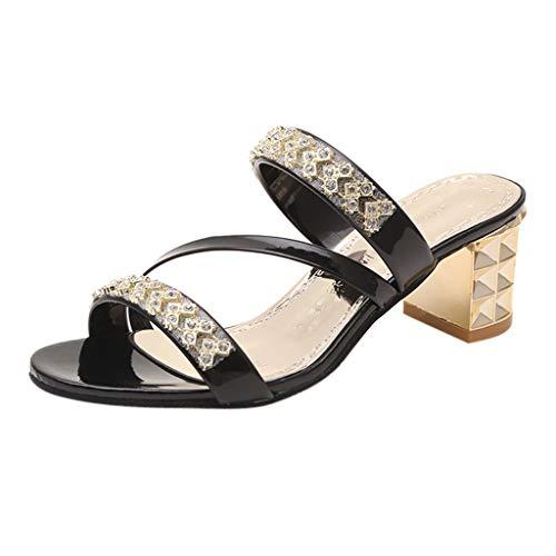 (LUCA Women Girls Ladies Summer Crystal Square Heels Slippers,Open Toe Indoor Outdoor Arch Support Beach Black)