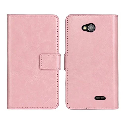 Towallmark(TM)For LG Optimus L70 D325 MS323 Magnetic Leather Slot wallet Cover Case (Pink)