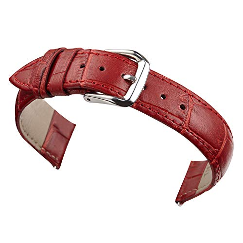 12mm Women's Dark Red Genuine Replacement Leather Watch Band Alligator Grain Matte Finish with Low Gloss ()
