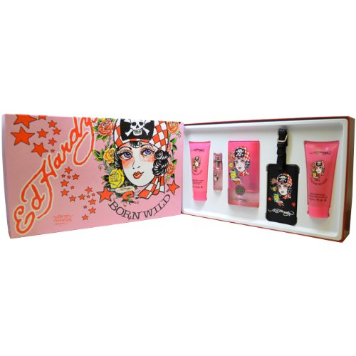 Christian Audigier Ed Hardy Born Wild Set for Women with Luggage Tag (3.4 Christian Edp Audigier)