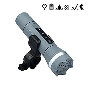 MUMENG Linterna Moderna Multifuncional Inteligente Bluetooth Altavoz LED Antorcha USB Recargable Luces de Bicicleta Deportes al Aire Libre Linterna Bicicleta (Gris, con Soporte)
