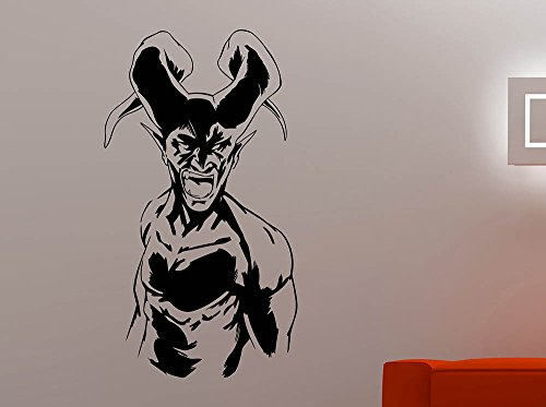 Scary Satan Vinyl Sticker Devil Demon Decal Halloween Home Interior Decorations Horror Evil Wall Art Room Monster Decor 4dvl ()