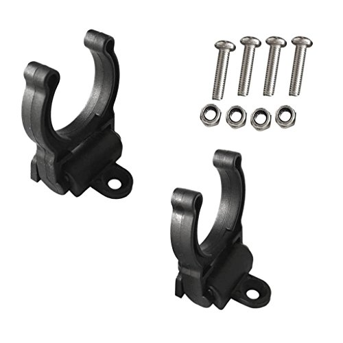 Yundxi 2 Pieces Nylon Kayak Marine Boat Paddle Clip Kit Fishing Rod Holder Clip with Screws Vertical Mounted Black by Yundxi
